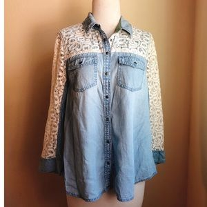 Anthropologie Lace Contrast Denim Button Down Top